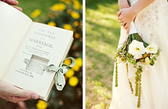 book ring pillow and bride holding bouquet