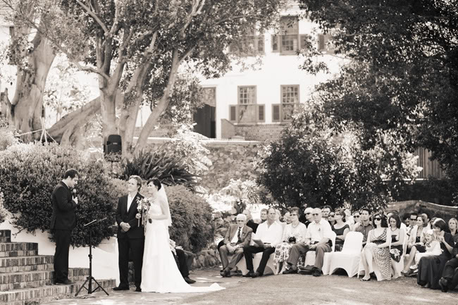 black and white photo of wedding ceremony at Welgemeend