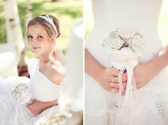 bride with small white bouquet