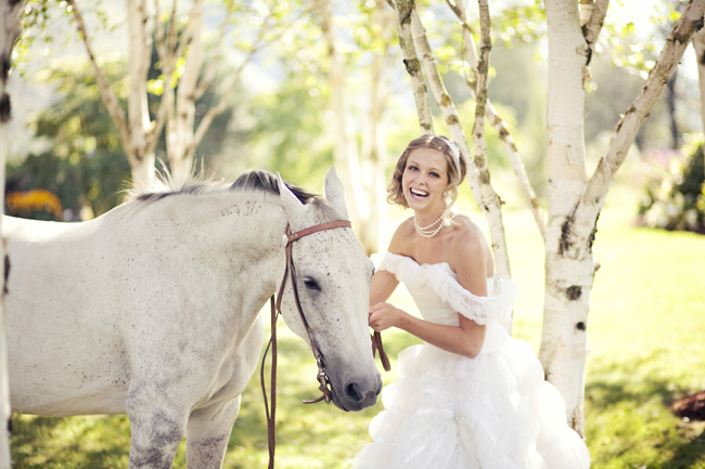 styled bride with white horse