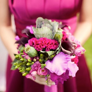 colorful pink wedding bouquet