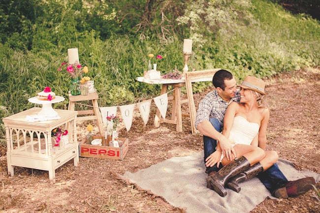 country picnic engagement session
