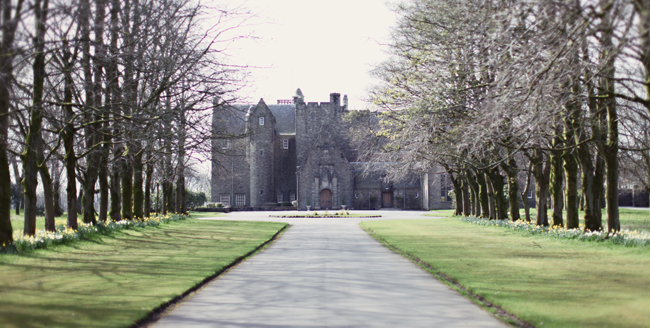 Tree lined driveway leading up to Rowallan Castle