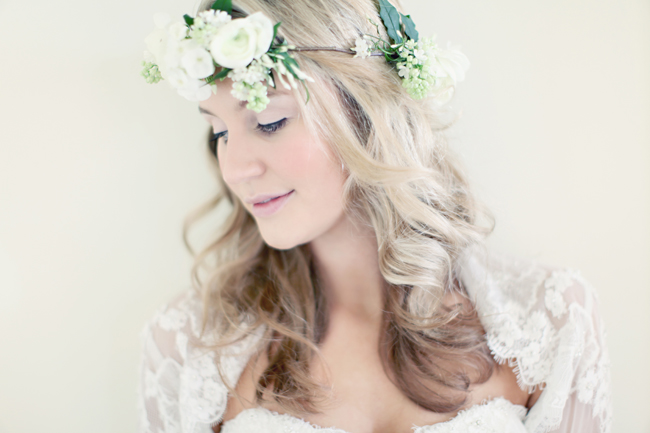 Bridal photo shoot model with white rose and flower crown