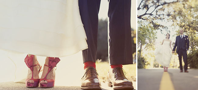 photo of bride and groom wearing shoes