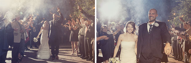 bride and groom exit to a sparkler send off