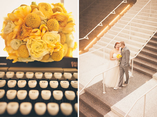 Vintage inspired wedding photo of typwriter with yellow bouquet sitting on top