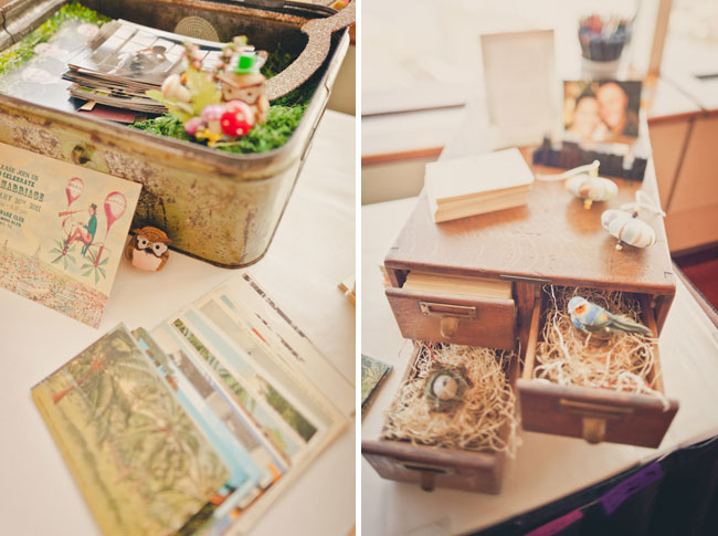 vintage inspired wedding decor: luggage and postcards, chest with bird ornaments in a nest