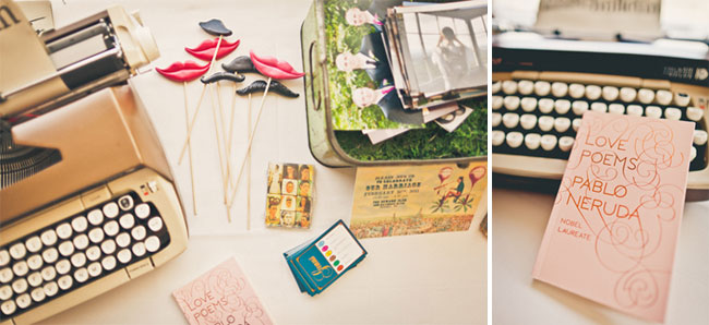 vintage typewriter, red and black lips, and love peom book on table for wedding decor