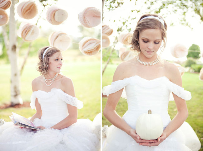 styled bride holds white pumpkin