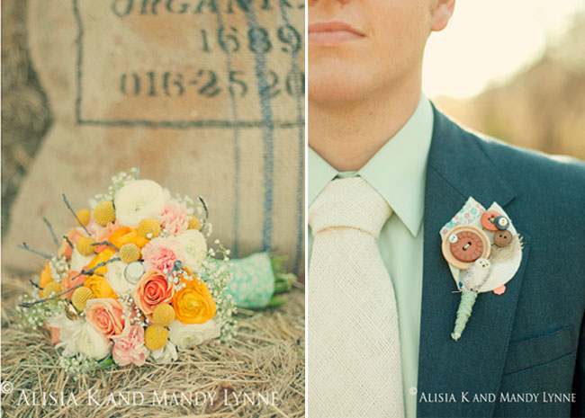 Groom with handmade burlap necktie and DIY Boutonniere