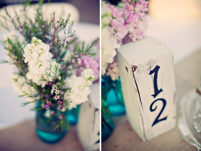 wood block table number with flowers