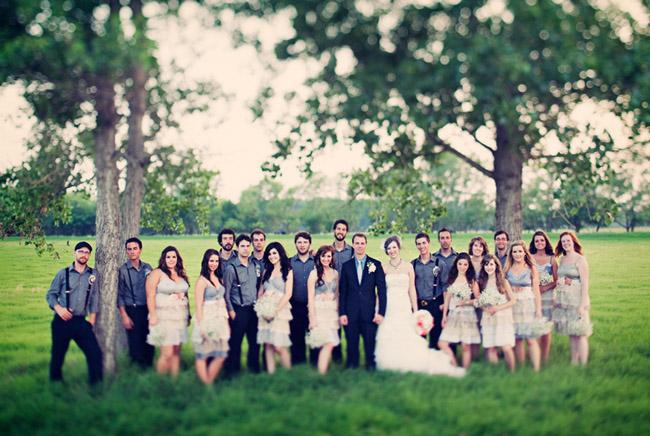 Elegant wedding bridal party outdoors