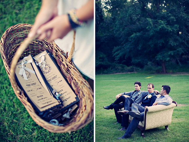 basket with wedding programs; groom sits with two groomsmen on vintage couch outdoors