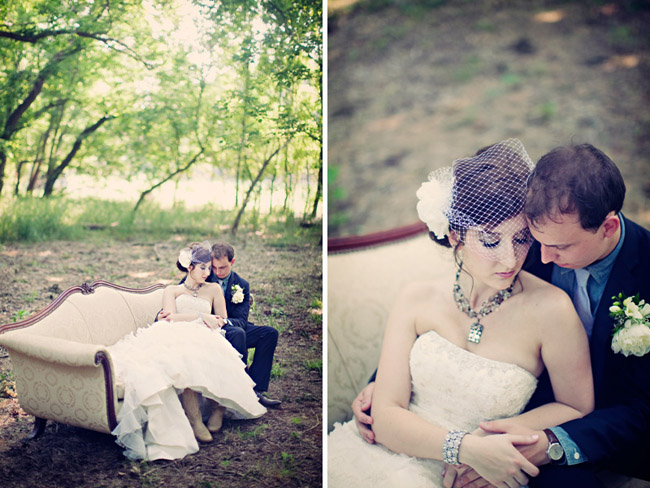 elegant bride with birdcage veil sitting on vintage sofa in forest with groom