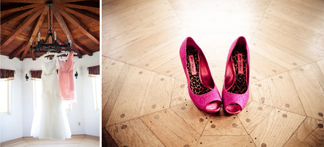 Bright pink wedding shoes
