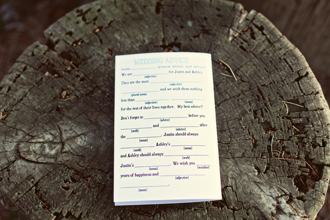 Wedding advice mad lib for guests to fill out for bride and groom