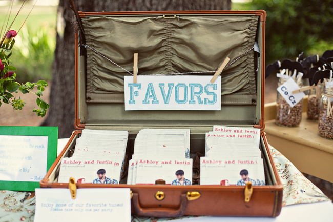 CD wedding favors inside old suitcase with lid open