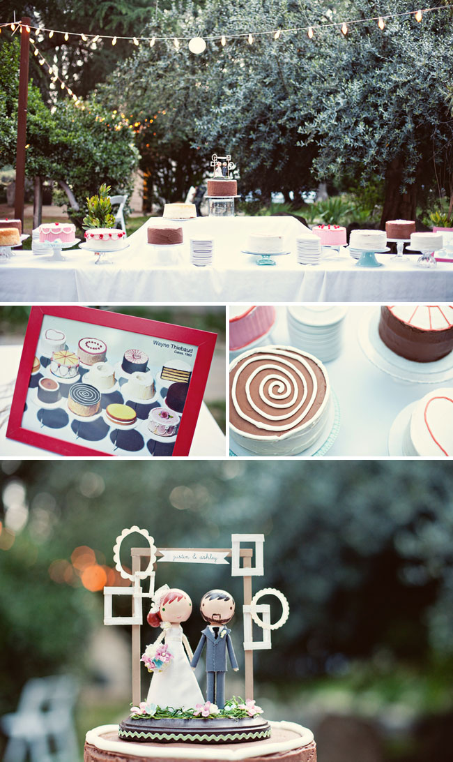 thiebaud inspired dessert table at wedding at Highland Springs Resort, California