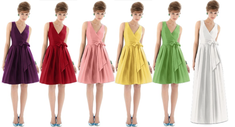 rainbow colored bridemaids dress examples from Dessy