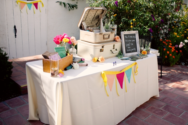 vintage suitcases for the postcard guestbook table