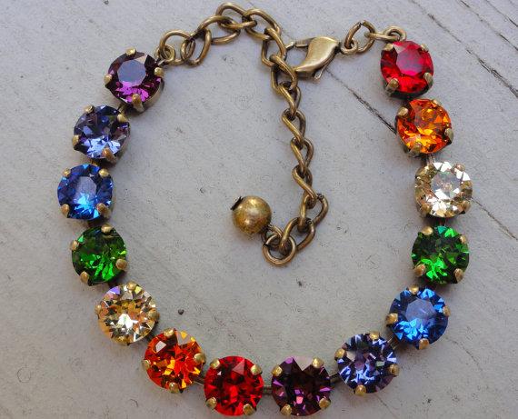 Rainbow Swarovski Crystal Tennis Bracelet