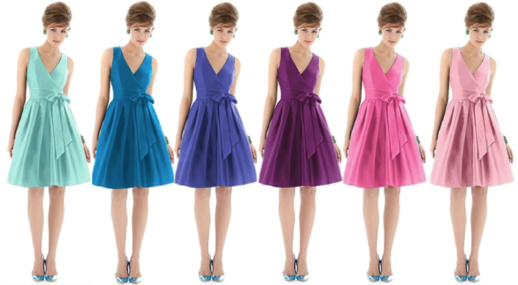 Rainbow colored bridemaids dresses by dessy