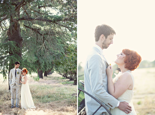 Bride wearing strapless empire waist gown and groom wearing tan suit with dark tie and yellow boutonniere standing under tree together (left photo); Bride and groom standing together looking at each other (right photo)