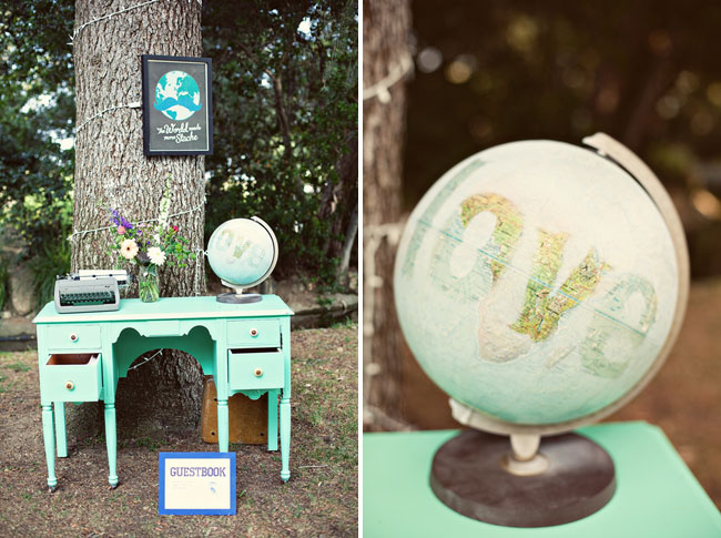 light blue-green desk outside with typewriter, flowers, and old globe on top