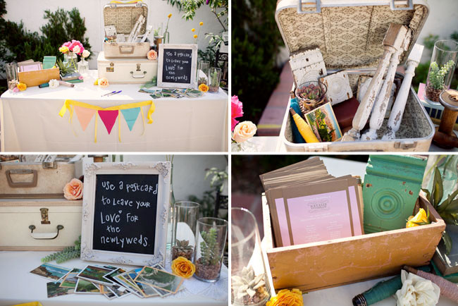 vintage suitcases for the postcard guestbook table - collage
