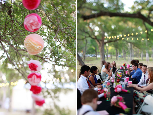 giant colored pom poms with outdoor wedding seating area