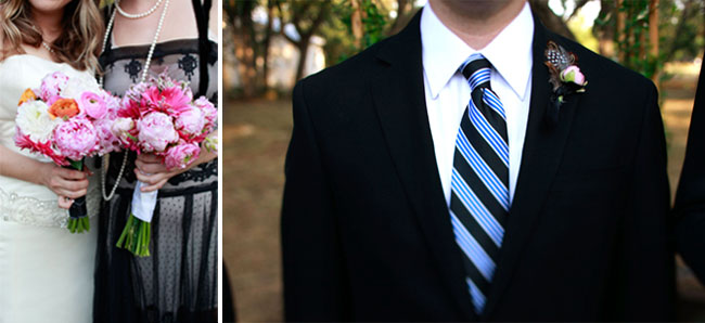 Budget Backyard wedding bouquet and groom in striped black and blue necktie