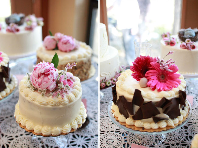 wedding cakes with pink flowers on top
