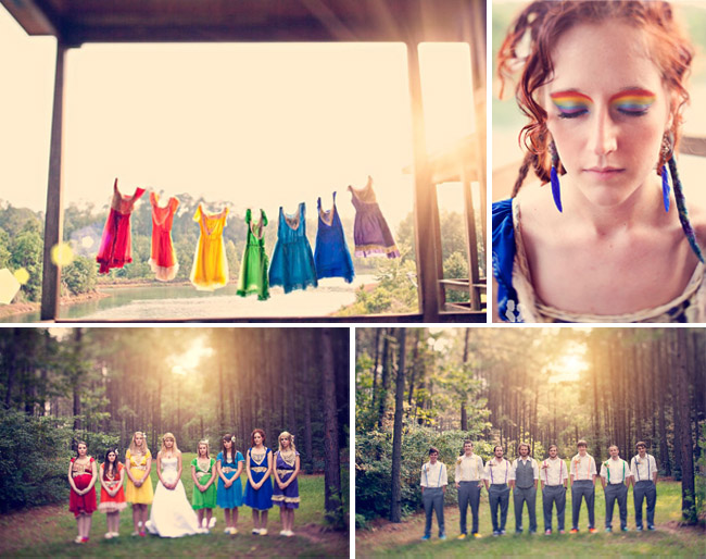 Wedding party wearing mismatched rainbow colored dresses
