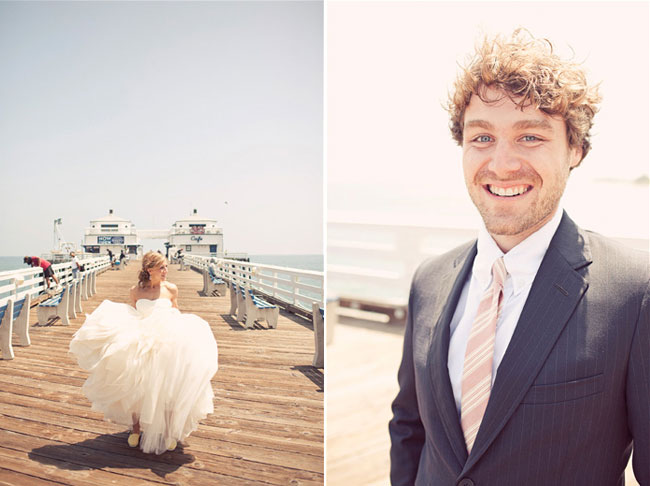 bride walking pier at Surfrider Beach, Malibu