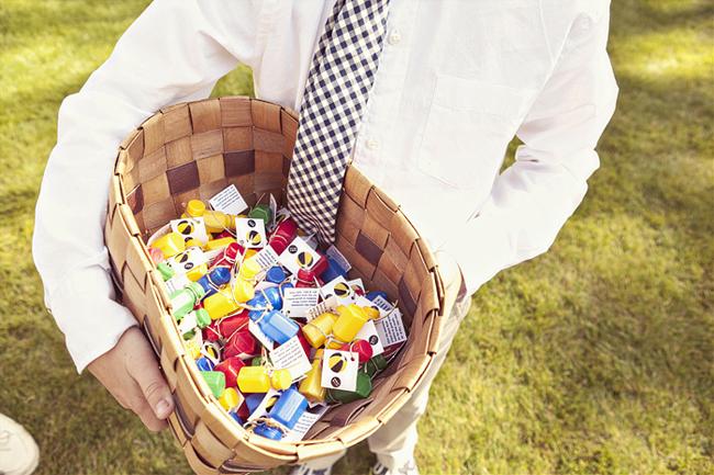 holding basket with multi color bottles
