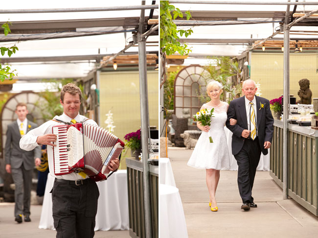 accordian player cerenades groom (left). Bride and father walk down aisle at wedding at Cactus & Tropicals wedding ceremony (right)