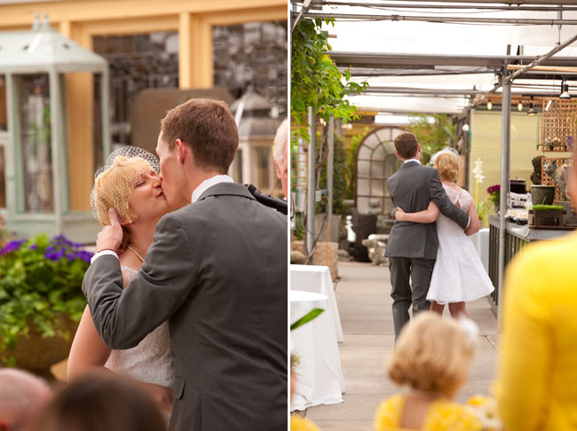 Groom kisses bride at wedding at Cactus & Tropicals in Salt Lake City, Utah
