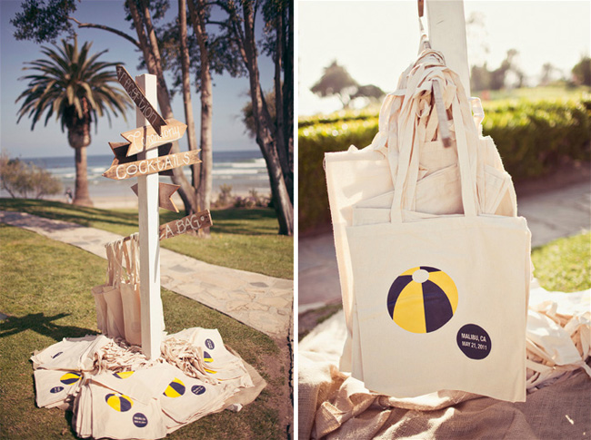 printed beachball wedding tote bags with beach in background