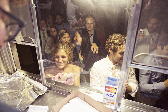 bride and groom at ice cream truck window