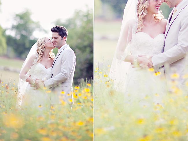 bride and groom kiss in field of yellow flowers