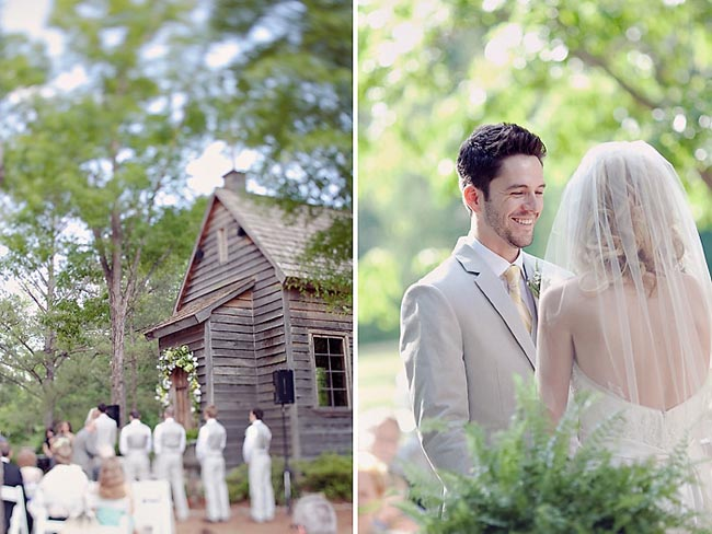outdoor wedding ceremony at private estate in Peachtree, Georgia