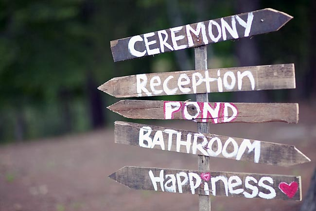 "five wood arrow signs with words, ""Ceremony, Reception, Pond, Bathroom, Happiness"""