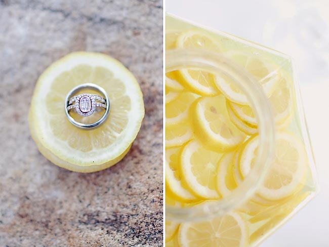 Wedding band on a slice of lemon