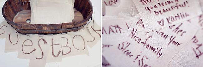 small wooden bathtub as wedding guestbook with pieces of cotton to write names