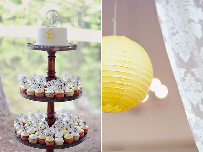 "wedding cupcakes on 3-tier stand with letter ""B"" flag,  yellow paper lantern"