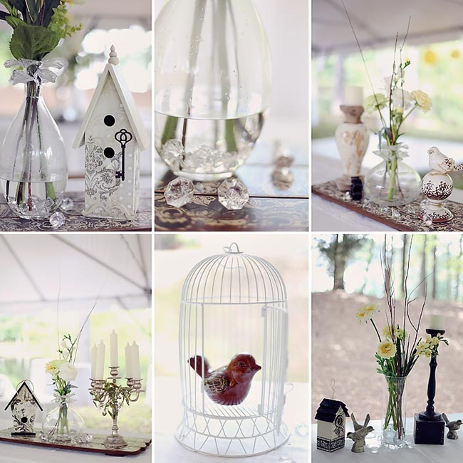 wedding details: white birdcage, flower vases, candelabra, and figurine