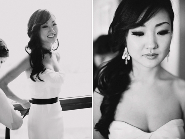 Black and white photos of beautiful bride getting ready