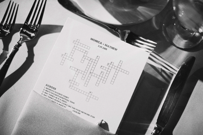 Personalized wedding crossword puzzle at table setting