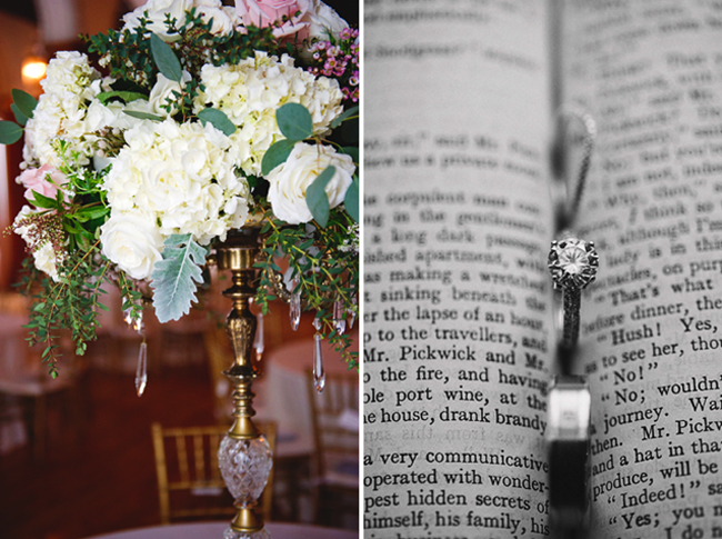 (left) floral bouquet in gold sconce. (right) wedding rings tucked in fold of book
